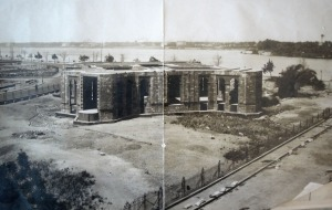 Unfinished building on Bacos site, 1924.