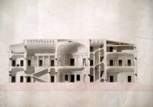 Longitudinal section of Balestra's design for the embassy building,1801.
