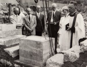 Foundation stone ceremony: Robert Prentice in centre, with Lady Gainer on his left. Various documents and coins were placed in a lead casket within the stone.