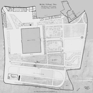 Pera House grounds survey by Lessels, 1871. Entrance at north-west corner; greenhouses at south-west; burned town housing at south-east; and Chapel at north-east.
