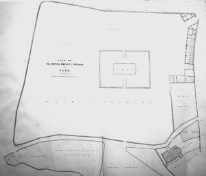 William Smith's 1841 survey plan of the Pera embassy grounds. (North is to the right.)