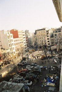 View from Pera House of obliterated gatehouse and outbuildings on the morning after the November 2003 carbomb.