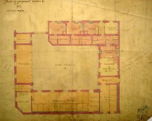 Ground floor plan of Lessels' proposal for new stables block on site of old greenhouses, 1871.