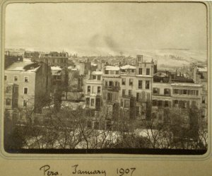 Snowy view westwards from Pera House, 1907.