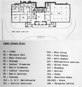 Lower ground floor plan, as built, 1950.