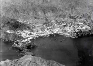 Muscat from the air, 1966, with the consulate-general is just beyond and below Fort Jalali on the left.
