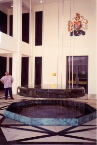 Water sculpture by William Pye at front of offices.