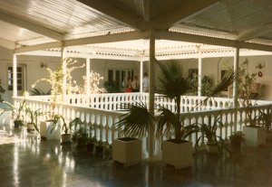 View across first floor of internal courtyard, 1980s.