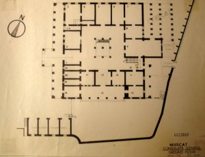 Ground floor plan, 1967, showing, top right, columns supporting the verandah.