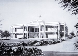 Drawing of front elevation of offices building, 1992.