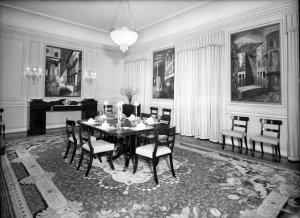 Private dining room, showing three of John Piper's five paintings, 1950.