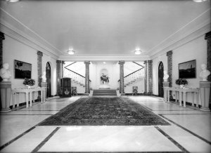 Entrance hall with stairs to reception hall, 1950.
