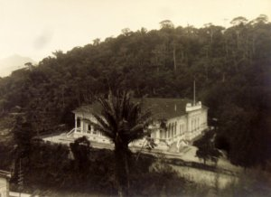 Summer residence from nearby hill, 1950.