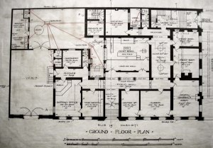 Ground floor plan of consulate building, 1909.