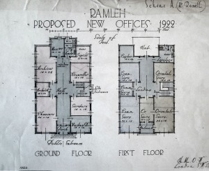 Plans of small office building, 1922.