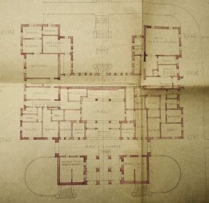 Early-ish plan of lower ground floor, 1943.