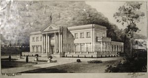 Perspective drawing by Robert Prentice, c.1945 and before elevation changed to 5 bays on either side of portico.