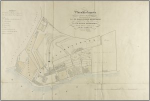 Glascott's 1847 survey,  drawn before Mr Hanson's property (at left) was substitued for Callimachi's property (at right).