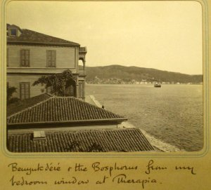View northwards up the Bosphorus from summer residence, with the Secretaries' house in the foreground.