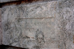 The foundation stone, laid by Lady Gainer on 22 March 1947.