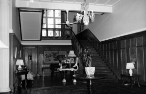 Hall and stair at residence, 1964.