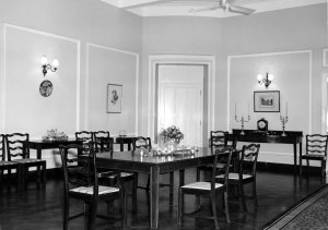 Dining room at residence, 1964.