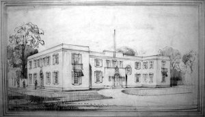 Perspective sketch of entrance front, 1929.
