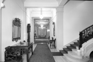View down the corridor from the entrance, with dining room at the end.