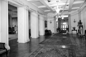 Residence corridor, looking towards entrance, with ballroom on the left.