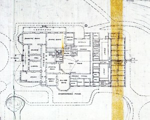 Ground floor plan of minister's residence, 1920.