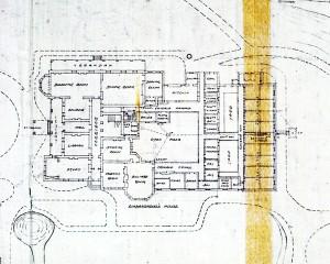 Ground floor plan of minister's residence, 1920.
