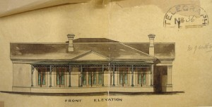 Front elevation of bungalow for secretary of legation, 1871.