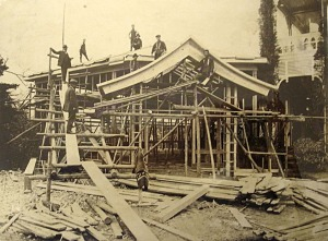Construction of large dining room along west side of residence, 1911.