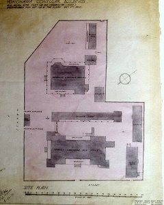 Plan of consular site at Lot 155 Yamachito-cho, showing offices and staff quarters destroyed in 1866. Site later used for the gaol, and exchanged in 1920 for 18 The Bluff.