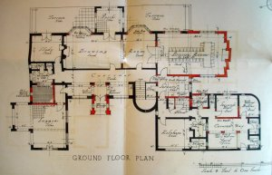 Ground floor plan of Silvertrees, 1936, with adaptations required for residence use shown red.