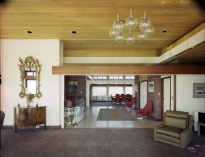 Looking from the drawing room across the landing/foyer to the dining room, 1973.