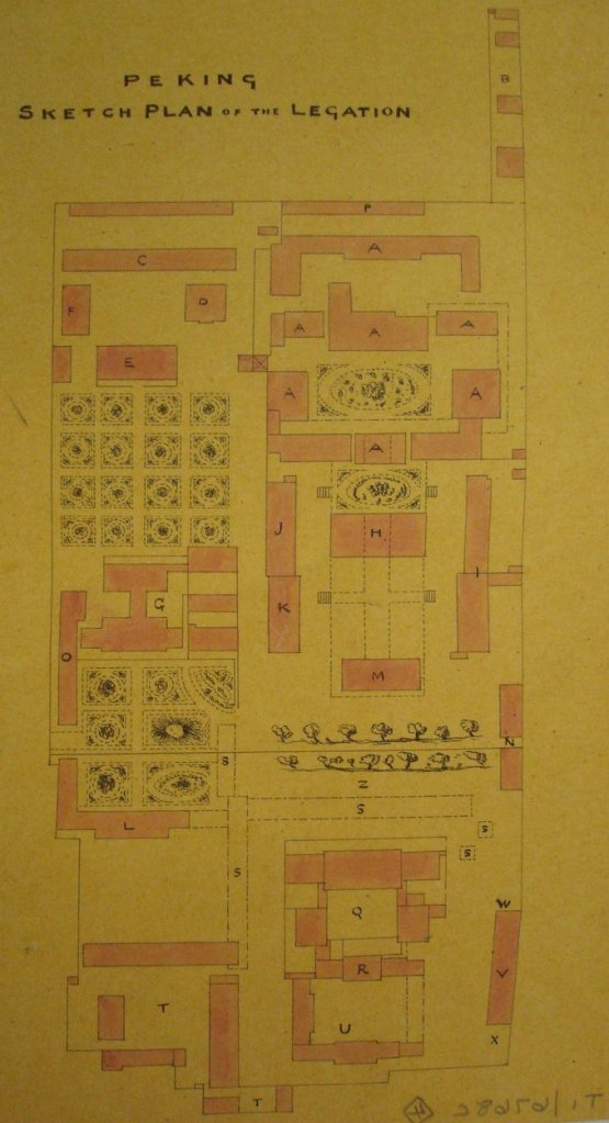 Early plan of compound layout, 1867, before construction of any European buildings.