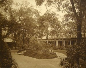 Garden veranda to second secretary houses, with doctor's house at left.
