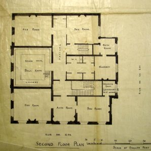 First (although titled here as second) floor plan of Hotel de Rodes, 1897.