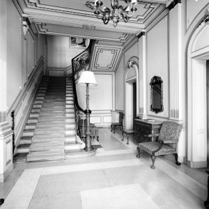 The hall of the offices and the stair to the residence, 1964.