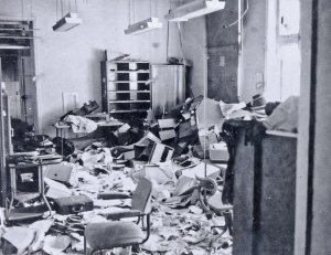 Looted office, 1967.