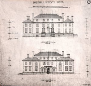 Garden (south-east) elevation above, and entrance (north-werst) elevation below, 1911.