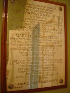 The silver inscription panel recording the dinner of 30 November, 1943.