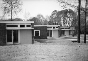 Line of four junior staff bungalows, 1960.