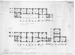 Minister's summer residence floorplans, 1921, with 1897 terraces and east extension.