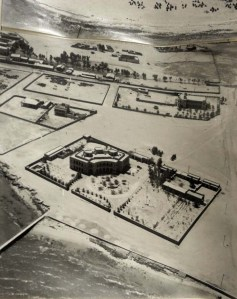 Compound from the air, 1951, with foreshore at front.