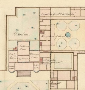 Enlarged plan of the residence to show layout of fromal rooms.