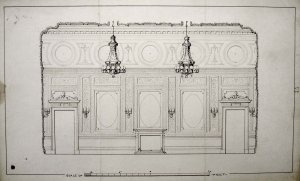 Clarke's sketch for internal plasterwork, 1875.