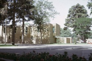 Rear and service wing to new residence, 1967.