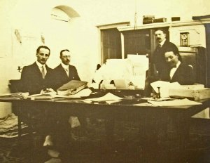 Chancery staff, perhaps at work, c.1925.